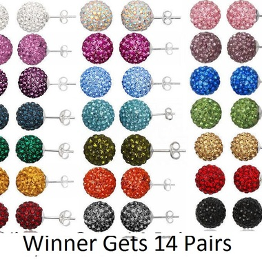 14 Pairs Genuine Crystal Ball Studs-Valued $249-8mm Size