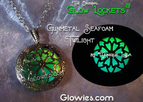 Gun Metal Black Seafoam Green and Blue Glow Locket ®