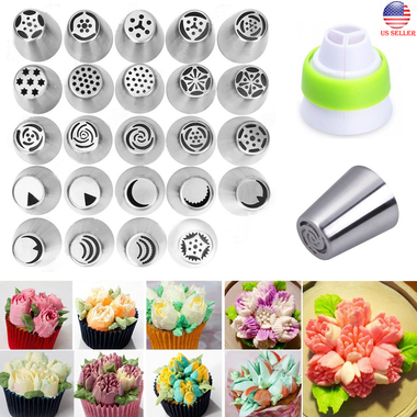 24pcs Russian Stars Flower Icing Piping Nozzles Cake Decorating Tips Baking Tool