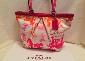 Coach Horse & Carriage Multi Color Tote w/Scarf