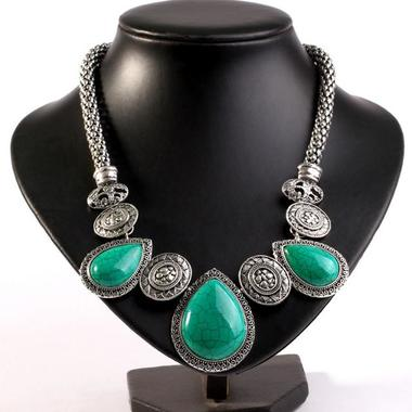 Classic Genuine Turquoise Waterdrop Pendant Necklace