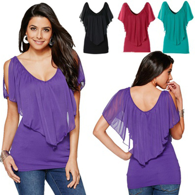 Women's V Neck Chiffon Blouse Shawl Sleeve Silk Sexy Shirt Casual Shoulder-expos