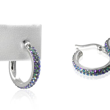 18K White Gold Plated Swarovski Elements Crystal Hoop Earring