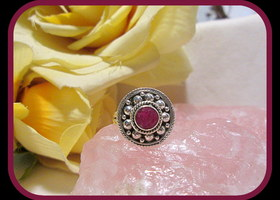 Balancing Indian Ruby Sterling Silver Ring Size 7.5