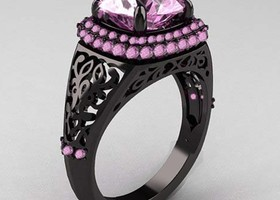Size 6,9 Amazing pink Black Rhodium Ring