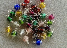 Wire-Wrapped 8 mm Glass Beads
