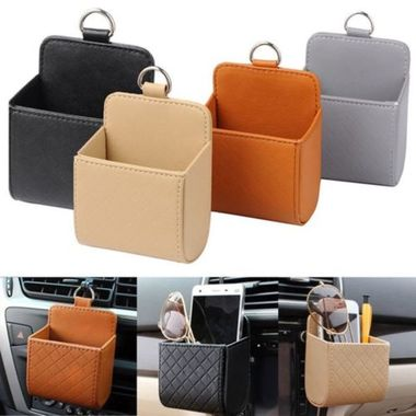 Car Accessories PU Leather Pouch Bag Holder Save Space Bag Auto Outlet Air Vent