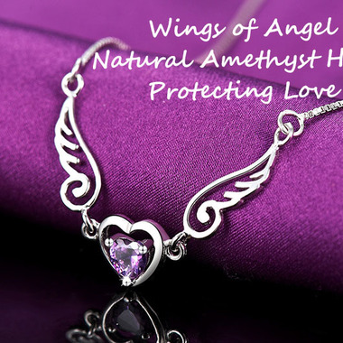 Purple Sterling Silver Angel Wing Love Heart Necklace Elegant Pendant Chic Gift