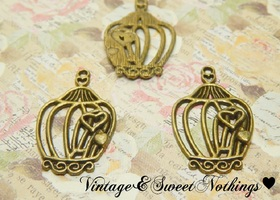 10+ Heart Bird Cage Charms/ Pendants