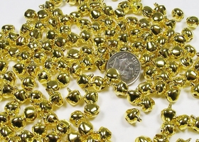* 8mm Shiny Goldtone Jingle Bells