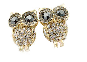 Cute Pair Retro Gold Tone Rhinestone Owl Earrings