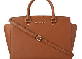 Michael Kors Selma Luggage Saffiano Leather Satchel