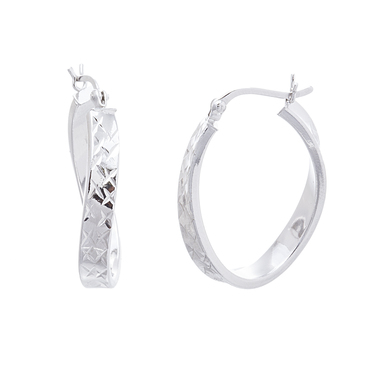 18K White Gold plated  Twisted Hinge Hoop Earring
