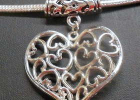 **Antique Silver tone Euro Heart Pendant