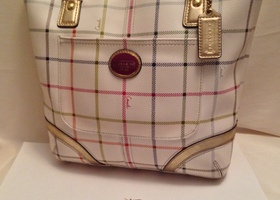 Mint Coach Heritage Tattersall Plaid Tote