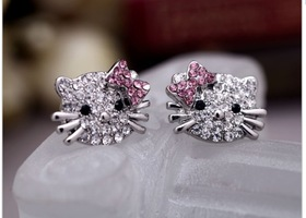 Hello Kitty CZ earrings