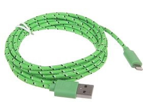 GREEN 6FT Braided 8pin USB CHARGER Cable -- iPhone 5/5S
