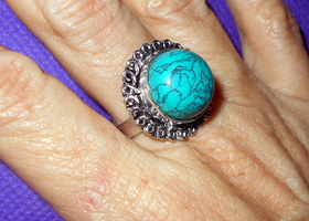 Genuine Turquoise Gemstone Handcrafted Ring – Size 8