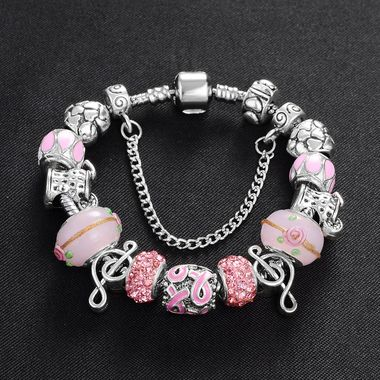 Lovely Pink Stainless Steel Pandora Beads Link Chain Charms Bracelet Statement B