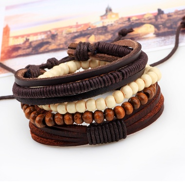 Leather Bracelet 1 Set 4PCS Multilayer Vinage Bead Wrap Bracelets for Men Jewelr