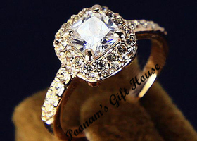 Sz 5/6/7/8/9: 18K Gold Plated Princess Cut Zircon Ring