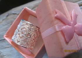 Beautiful silver plated open cuff ring