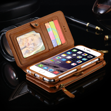 Two-Piece Wallet Pouch Case With 18 Card Slot For iPhone & Samsung Galaxy