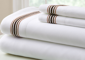5 Line Marrowing Hem 4 Pc Sheet Set Chocolate - Queen