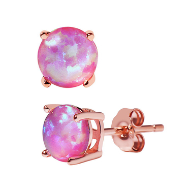 ETHIOPIAN 18k rose gold plated sterling silver pink lab created opal stud earrin