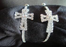 rhnestone cross hoop earrings