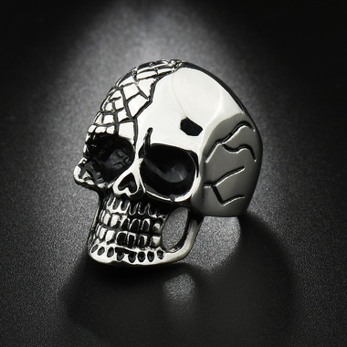 Mens Personalized Punk Titanium Steel Skull Skeleton Ring Party Band Ring