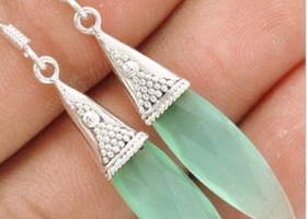 Aqua Chalcedony Earrings .925 Sterling Silver