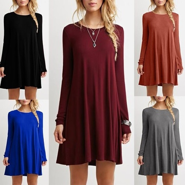 Fashion Womens Long Sleeve Casual Loose Dress Evening Party Short Mini Dresses