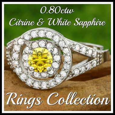 0.80ctw 14k White Gold Filled, Beautifully Created Fine Citrine & White Sapphire