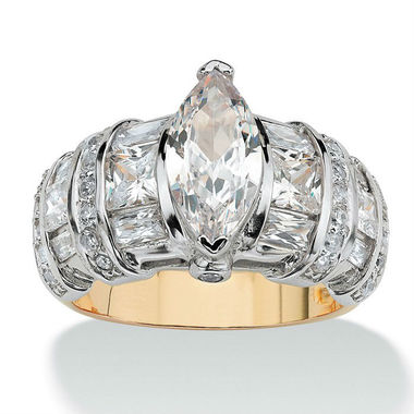 YGP Bold Marquise CZ Center Stone W/ Round & Princess Cut Side Stones Wedding/En