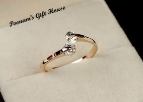 6.5/7/8/9/ 18K RGP Fashion Design Twin Zircon CZ Ring