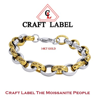 14K Two Tone Gold Rolo Chain Mens Bracelet Msrp 1990
