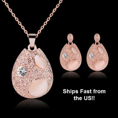 Lovely 18K Rose Gold Plated Opal Necklace and Earring Set