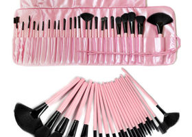 24pcs Makeup Brush Set Cosmetic Brush Kit + Pink Case