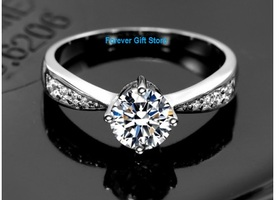 Luxury 6 or 8 1 Carat CZ 925 Sterling Silver Ring