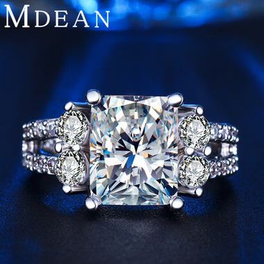 MDEAN Wedding Rings for women White Gold Color AAA Zircon Jewelry Vintage engage