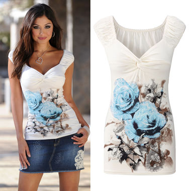 Womens V Neck Floral Vest T-Shirt Ladies Summer Casual Tank Tops Blouse Top