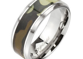 Stainless Steel Green Camo Ring, Sizes 7-14