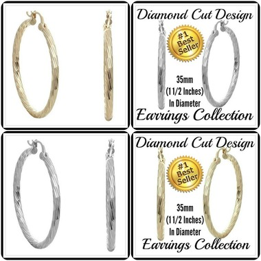 35mm in Diameter 14k Gold Filled Hoop Earrings (Choose Color at Checkout)