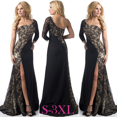 Women Sexy Asymmetry Maxi Dress Lace Decor Slim Fit Dress For Party Club Black