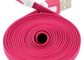6 FT Flat Noodle 8pin USB Cable iPhone 5/5s/5c HOT PINK
