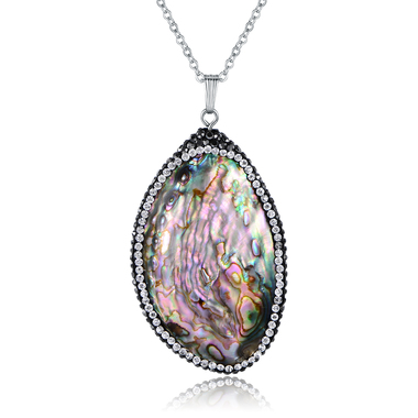 18K White Gold Plated Lab Created Abalone Pendant