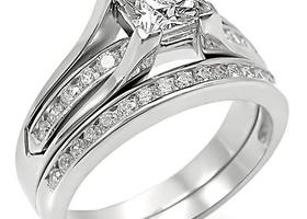 Princess Cut CZ Wedding Ring Set Size 5,6,7,8,9,10