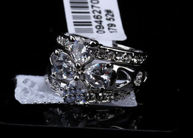 Sz 6/7/8/9:18k WGP3-in-1 Ring with Swarovski Crystal