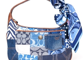 COACH Blue Denim Indigo Patchwork Ergo Hobo w/Scarf